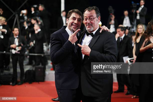 Actors Javier Bardem and Jean Reno leave 'The Last Face' Premiere during the 69th annual Cannes Film Festival at the Palais des Festivals on May 20...