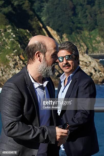 Actors Javier Camara and Ricardo Darin attend 'Truman' photocall during the 63rd San Sebastian International Film Festival on September 19 2015 in...