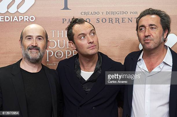 Actors Javier Camara Jude Law and director Paolo Sorrentino attend 'The Young Pope' premiere at the Palafox cinema on October 11 2016 in Madrid Spain