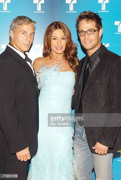 Actors Javier Gomez Amparo Grisales and Michel Brown attend Telemundo's Upfront 2006 at Jazz At Lincoln Center on May 16 2006 in New York City