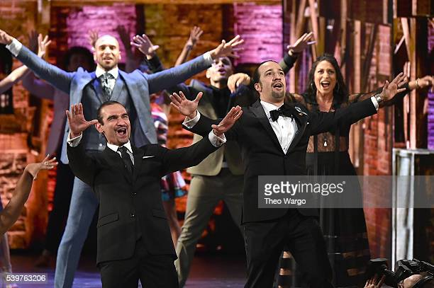 Actors Javier Munoz and LinManuel Miranda perform onstage during the 70th Annual Tony Awards at The Beacon Theatre on June 12 2016 in New York City
