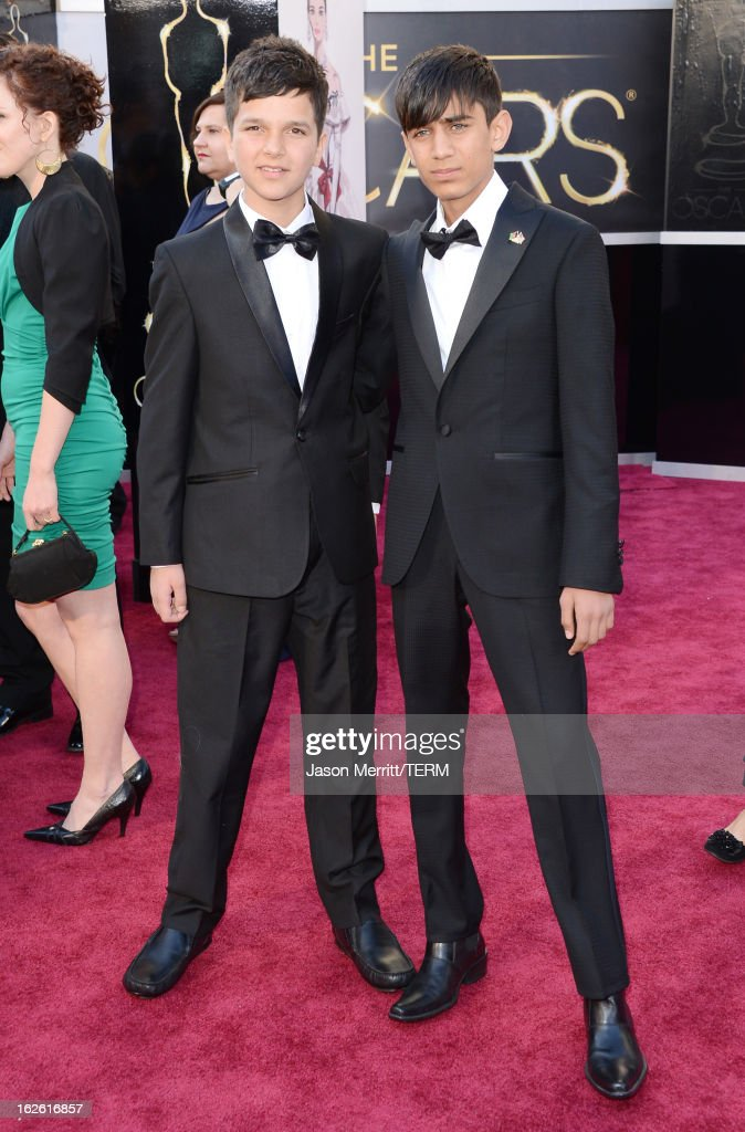 Actors Jawanmard Paiz (L) and Fawad Mohammadi arrive at the Oscars at Hollywood & Highland Center on February 24, 2013 in Hollywood, California.