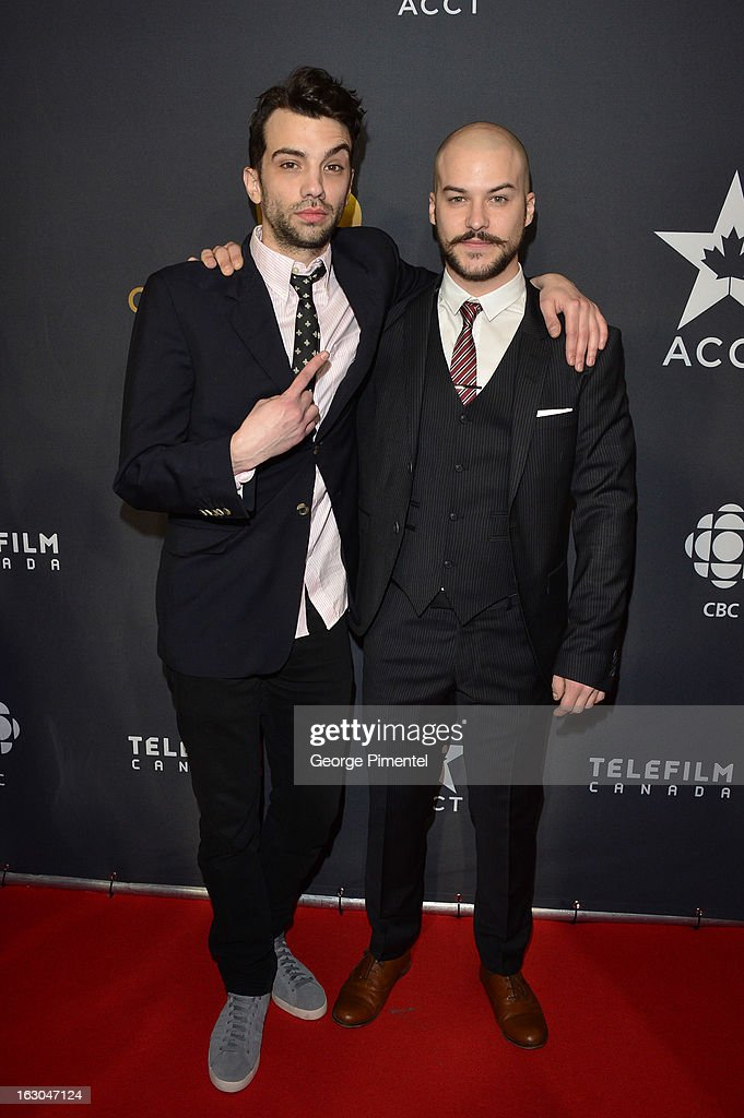 Actors Jay Baruchel and Marc Andre Grondin arrive at the Canadian Screen Awards at the Sony Centre for the Performing Arts on March 3, 2013 in Toronto, Canada.
