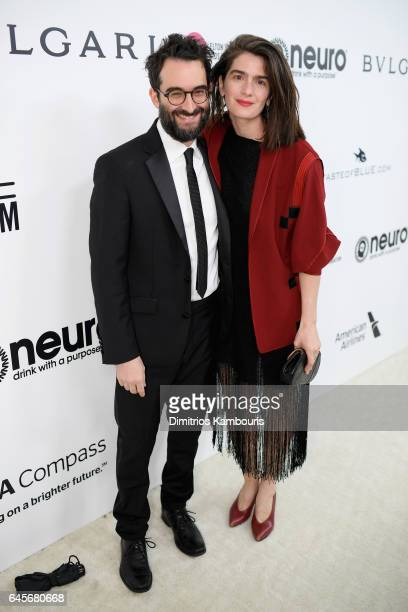 Actors Jay Duplass and Gaby attend the 25th Annual Elton John AIDS Foundation's Academy Awards Viewing Party at The City of West Hollywood Park on...