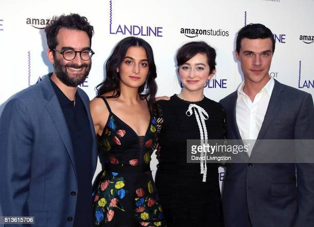 Actors Jay Duplass Jenny Slate Abby Quinn and Finn Wittrock attend the premiere of Amazon Studios' 'Landline' at ArcLight Hollywood on July 12 2017...