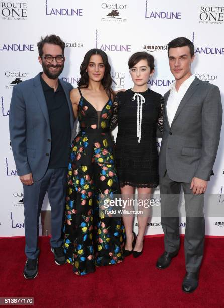 Actors Jay Duplass Jenny Slate Abby Quinn and Finn Wittrock attend the Los Angeles premiere of 'Landline' at ArcLight Hollywood Cinemas on July 12...