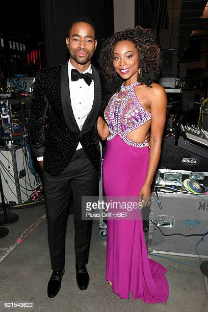 Actors Jay Ellis and Erica Ash are seen backstage during the 2016 Soul Train Music Awards on November 6 2016 in Las Vegas Nevada