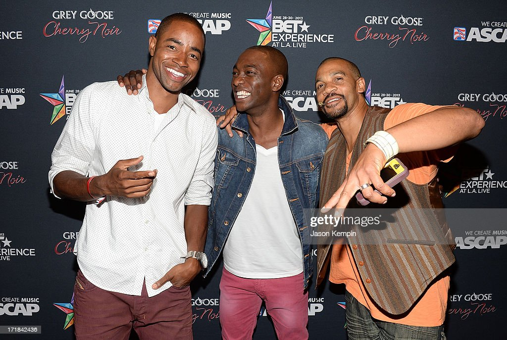 Actors Jay Ellis, B.J. Britt, and Aaron D. Spears arrive at the Grey Goose Cherry Noir Flavored Vodka VIP after party during the 2013 BET Experience at The Conga Room at L.A. Live on June 28, 2013 in Los Angeles, California.