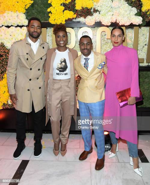 Actors Jay Ellis Issa Rae Creator/Host Prentice Penny and director Melina Matsoukas at truTV's 'Upscale with Prentice Penny' Premiere at The London...