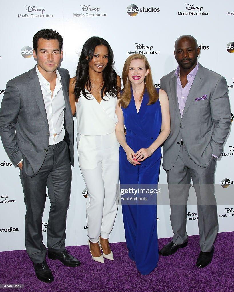 Actors Jay Hayden Rose Rollins Mireille Enos and Alimi Ballard attend the Disney Media Distribution International Upfronts at Walt Disney Studios on...