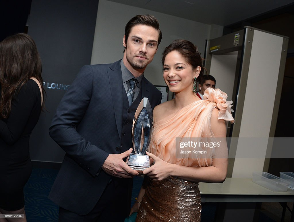 Actors Jay Ryan and <a gi-track='captionPersonalityLinkClicked' href=/galleries/search?phrase=Kristin+Kreuk&family=editorial&specificpeople=216415 ng-click='$event.stopPropagation()'>Kristin Kreuk</a> backstage at the 39th Annual People's Choice Awards at Nokia Theatre L.A. Live on January 9, 2013 in Los Angeles, California.