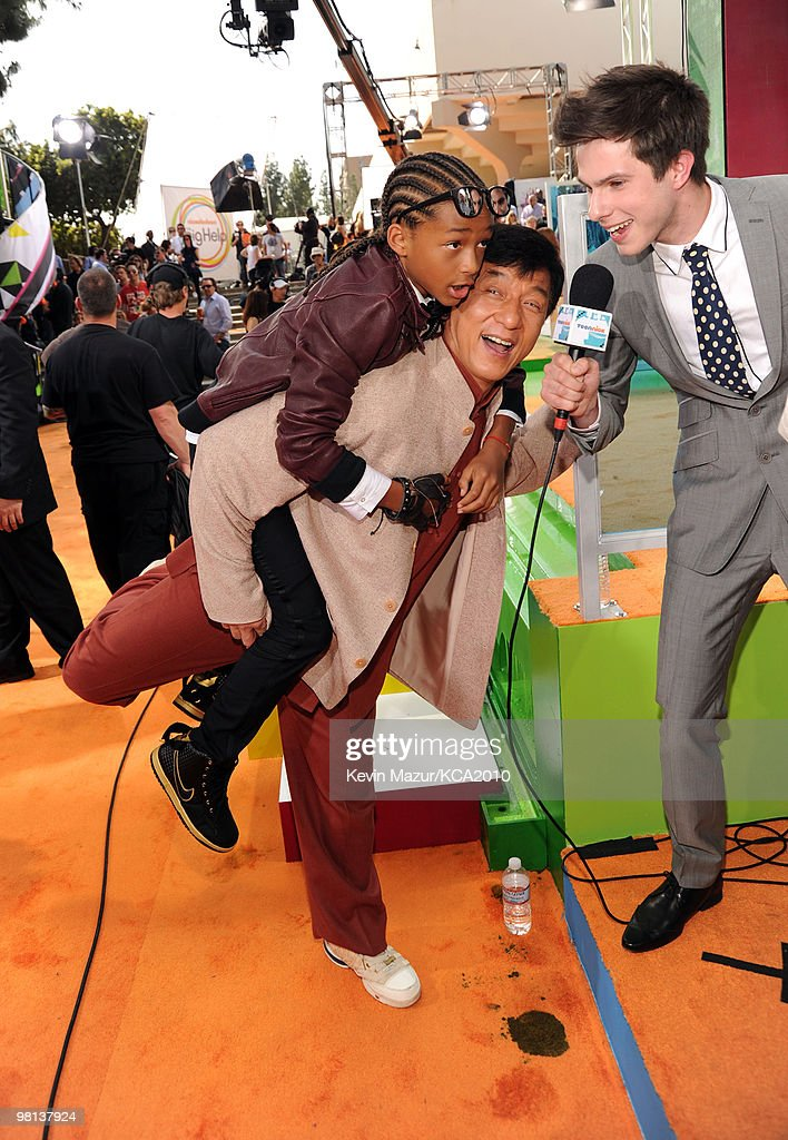 Actors Jayden Smith and Jackie Chan arrive at Nickelodeon's 23rd Annual Kids' Choice Awards held at UCLA's Pauley Pavilion on March 27, 2010 in Los Angeles, California.