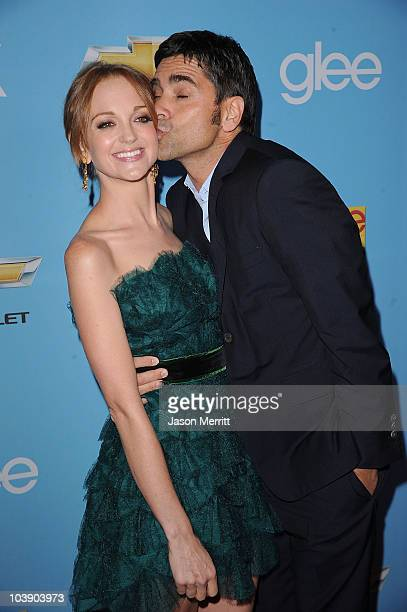 Actors Jayma Mays and John Stamos attend the premiere of 20th Century Fox's 'Glee' Season 2 held at Paramount Studios on September 7 2010 in...