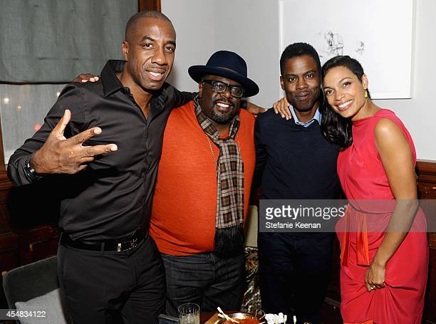 Actors JB Smoove and Cedric the Entertainer director/actor Chris Rock and actress Rosario Dawson at the 'Top Five' world premiere party hosted by...