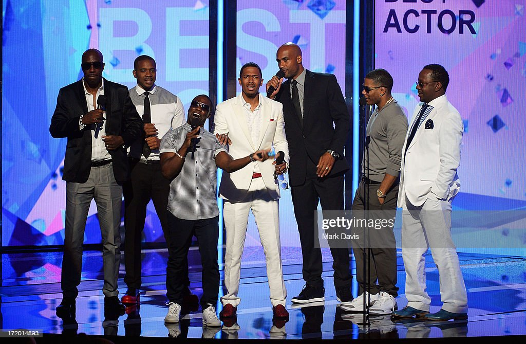 Actors JB Smoove Columbus Short Kevin Hart Nick Cannon Boris Kodjoe Nelly and Bobby Brown present an award onstage during the 2013 BET Awards at...