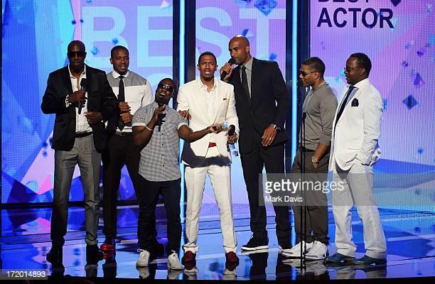 Actors JB Smoove Columbus Short Kevin Hart Nick Cannon Boris Kodjoe Nelly and Bobby Brown present an award onstage during the 2013 BET Awards at...