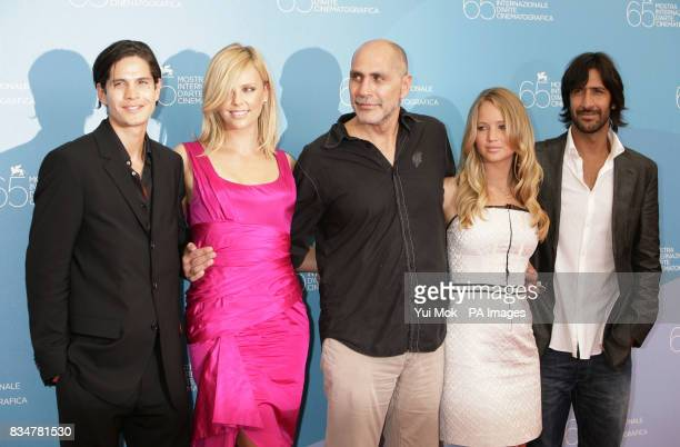 Actors JD Pardo Charlize Theron director Guillermo Arriaga and actors Jennifer Lawrence and Jose Maria Yazpik pose during a photocall for the film...