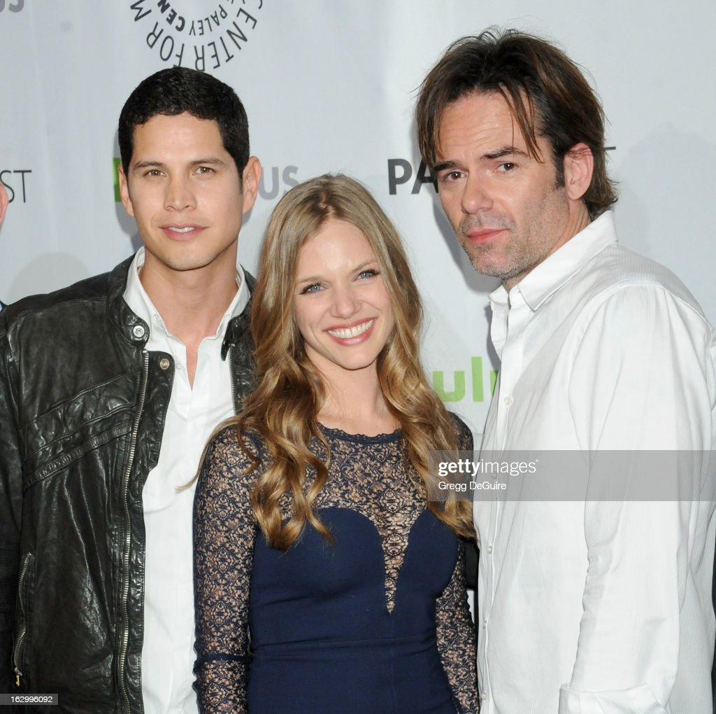 Actors JD Pardo, <a gi-track='captionPersonalityLinkClicked' href=/galleries/search?phrase=Tracy+Spiridakos&family=editorial&specificpeople=8954855 ng-click='$event.stopPropagation()'>Tracy Spiridakos</a> and <a gi-track='captionPersonalityLinkClicked' href=/galleries/search?phrase=Billy+Burke&family=editorial&specificpeople=602361 ng-click='$event.stopPropagation()'>Billy Burke</a> arrive at the 30th Annual PaleyFest: The William S. Paley Television Festival featuring 'Revolution' at Saban Theatre on March 2, 2013 in Beverly Hills, California.
