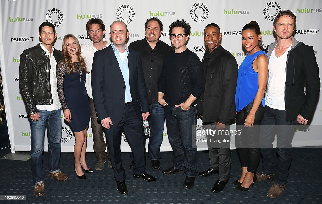 Actors JD Pardo, Tracy Spiridakos, Billy Burke, executive producer Eric Kripke, director Jon Favreau, executive producer J.J. Abrams and actors Giancarlo Esposito, Daniella Alonso and David Lyons attend The Paley Center for Media's PaleyFest 2013 honoring 'Revolution' at the Saban Theatre on March 2, 2013 in Beverly Hills, California.