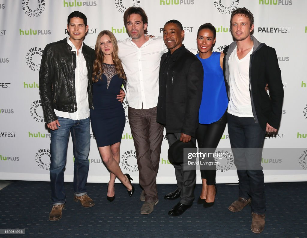 Actors JD Pardo, <a gi-track='captionPersonalityLinkClicked' href=/galleries/search?phrase=Tracy+Spiridakos&family=editorial&specificpeople=8954855 ng-click='$event.stopPropagation()'>Tracy Spiridakos</a>, <a gi-track='captionPersonalityLinkClicked' href=/galleries/search?phrase=Billy+Burke&family=editorial&specificpeople=602361 ng-click='$event.stopPropagation()'>Billy Burke</a>, <a gi-track='captionPersonalityLinkClicked' href=/galleries/search?phrase=Giancarlo+Esposito&family=editorial&specificpeople=725984 ng-click='$event.stopPropagation()'>Giancarlo Esposito</a>, <a gi-track='captionPersonalityLinkClicked' href=/galleries/search?phrase=Daniella+Alonso&family=editorial&specificpeople=632767 ng-click='$event.stopPropagation()'>Daniella Alonso</a> and David Lyons attend The Paley Center for Media's PaleyFest 2013 honoring 'Revolution' at the Saban Theatre on March 2, 2013 in Beverly Hills, California.