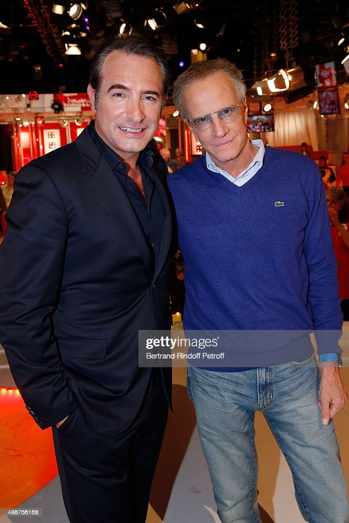 Actors <a gi-track='captionPersonalityLinkClicked' href=/galleries/search?phrase=Jean+Dujardin&family=editorial&specificpeople=620972 ng-click='$event.stopPropagation()'>Jean Dujardin</a> and Christophe Lambert attend 'Vivement Dimanche' TV Show at Pavillon Gabriel on November 25, 2015 in Paris, France.