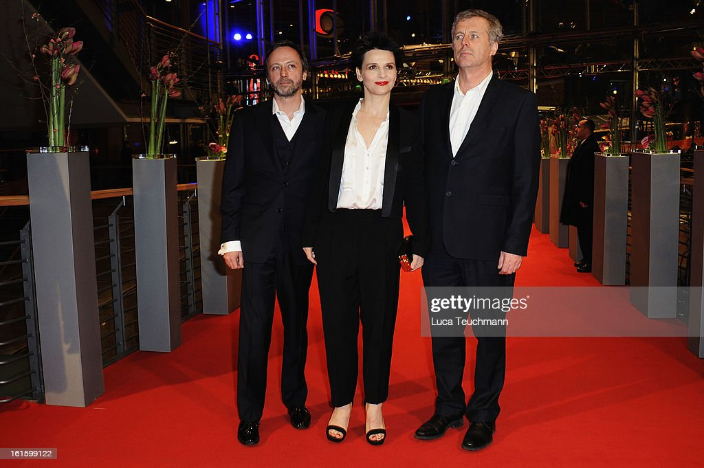 Actors Jean Luc Vincent, <a gi-track='captionPersonalityLinkClicked' href=/galleries/search?phrase=Juliette+Binoche&family=editorial&specificpeople=209273 ng-click='$event.stopPropagation()'>Juliette Binoche</a> and director <a gi-track='captionPersonalityLinkClicked' href=/galleries/search?phrase=Bruno+Dumont&family=editorial&specificpeople=607004 ng-click='$event.stopPropagation()'>Bruno Dumont</a> attend the 'Camille Claudel 1915' Premiere during the 63rd Berlinale International Film Festival at Berlinale Palast on February 12, 2013 in Berlin, Germany.