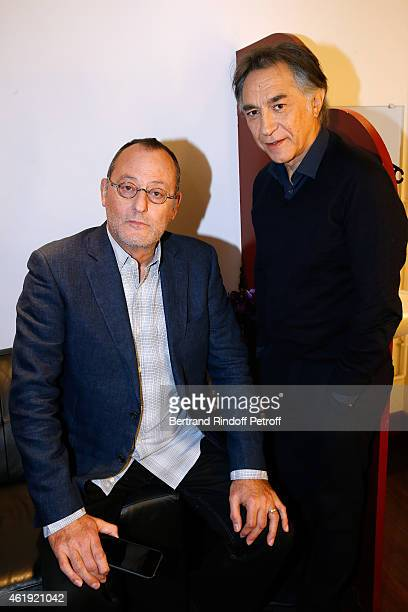 Actors Jean Reno and Richard Berry present the Theater Piece 'Nos femmes' performed at Theatre de Paris during the 'Vivement Dimanche' French TV Show...