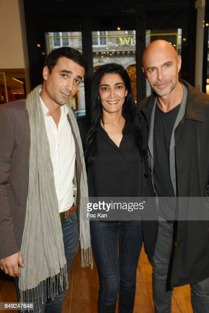 Actors JeanBaptiste Martin Fatima Adoum and Guy Amram attend 'Nuit Jovoy Rose Millesimee' at Jovoy Store on September 18 2017 in Paris France