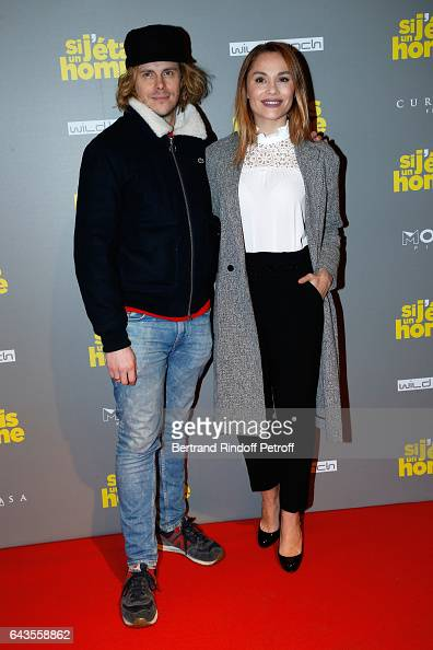 Actors JeanBaptiste Shelmerdine and Joy Esther attend the 'Si j'etais un Homme' Paris Premiere at Cinema Gaumont Opera on February 21 2017 in Paris...