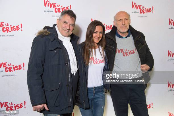 Actors JeanMarie Bigard Emmanuelle Boidron and Rufus attend the 'Vive La Crise' Paris Premiere at Cinema Max Linder on May 2 2017 in Paris France
