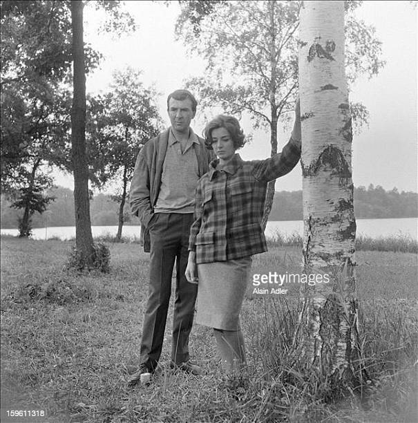 Actors JeanPierre Marielle and Emmanuelle Riva on the set of 'Climats' a film by Stellio Lorenzi France 27th August 1961