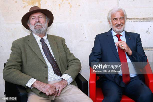 Actors JeanPierre Marielle and JeanPaul Belmondo attend Museum Paul Belmondo celebrates its 5th Anniversary on April 13 2015 in BoulogneBillancourt...