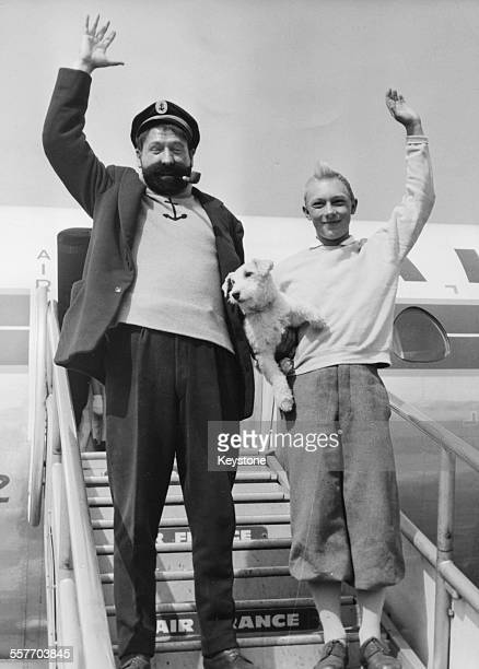 Actors JeanPierre Talbot and Georges Wilson in costume as Tintin and Captain Haddock as they appear in their new film 'Tintin and the Golden Fleece'...