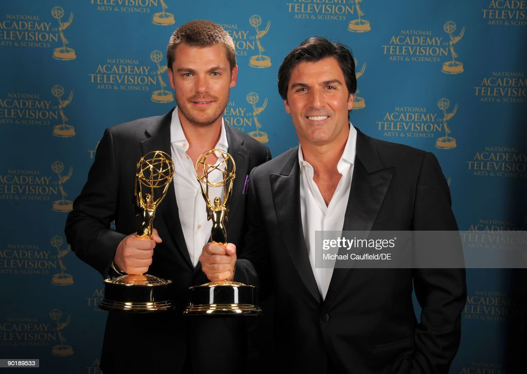 Actors Jeff Branson and Vincent Irizarry, winners of the Emmy for Outstanding Supporting Actor in a Drama Series, pose for a portrait at the 36th Annual Daytime Emmy Awards at The Orpheum Theatre on August 30, 2009 in Los Angeles, California.