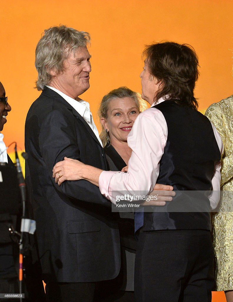 Actors Jeff Bridges and Susan Geston and recording artist Paul McCartney onstage during 'The Night That Changed America: A GRAMMY Salute To The Beatles' at the Los Angeles Convention Center on January 27, 2014 in Los Angeles, California.