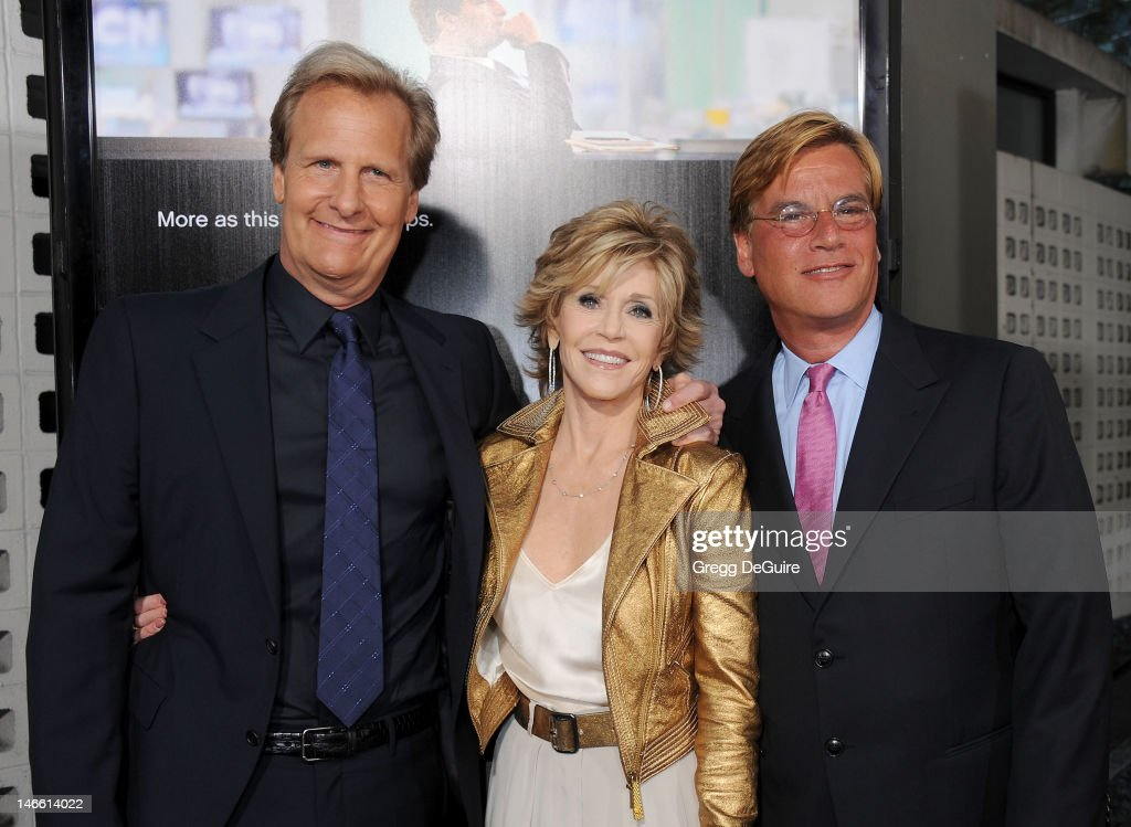 Actors Jeff Daniels and <a gi-track='captionPersonalityLinkClicked' href=/galleries/search?phrase=Jane+Fonda&family=editorial&specificpeople=202174 ng-click='$event.stopPropagation()'>Jane Fonda</a> and creator/ executive producer <a gi-track='captionPersonalityLinkClicked' href=/galleries/search?phrase=Aaron+Sorkin&family=editorial&specificpeople=673535 ng-click='$event.stopPropagation()'>Aaron Sorkin</a> arrive at the Los Angeles premiere of HBO's 'The Newsroom' at ArcLight Cinemas Cinerama Dome on June 20, 2012 in Hollywood, California.