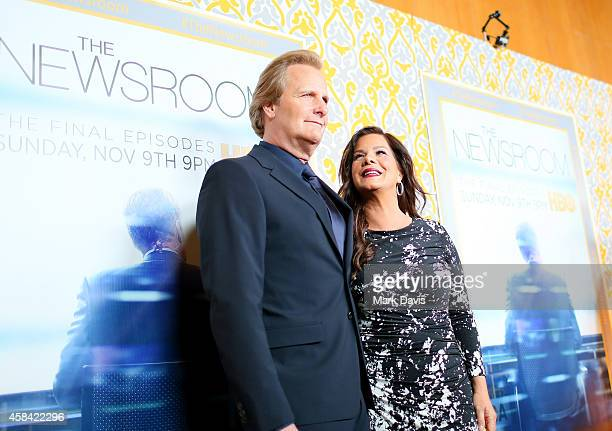 Actors Jeff Daniels and Marcia Gay Harden attend the Premiere of HBO's 'The Newsroom' Season 3 at Directors Guild Of America on November 4 2014 in...