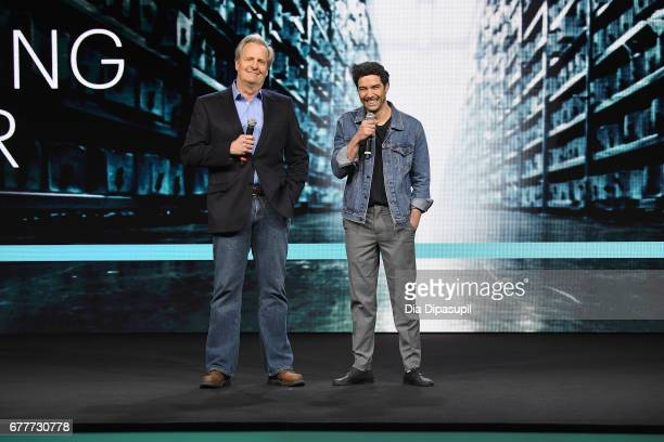 Actors Jeff Daniels and Tahar Rahim of 'The Looming Tower' speak onstage during the Hulu Upfront presentation at The Theater at Madison Square Garden...