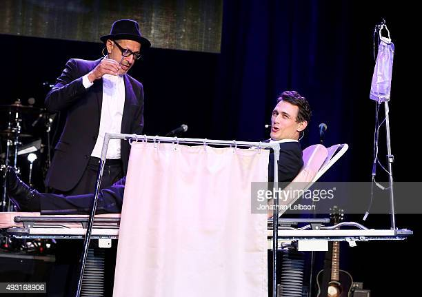 Actors Jeff Goldblum and James Franco perform onstage during Hilarity for Charity's annual variety show James Franco's Bar Mitzvah benefiting the...