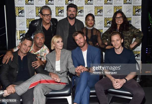Actors Jeff Goldblum Karl Urban Tessa Thompson Rachel House Mark Ruffalo director Taika Waititi actors Cate Blanchett Chris Hemsworth and Tom...