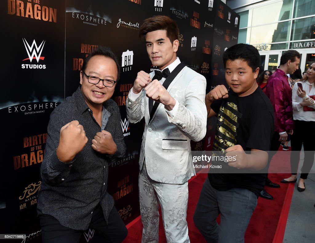 Actors Jeff Yang, Philip Ng, and Hudson Yang attend the Los Angeles special screening of Birth of the Dragon at ArcLight Cinemas on August 17, 2017 in Hollywood, California.
