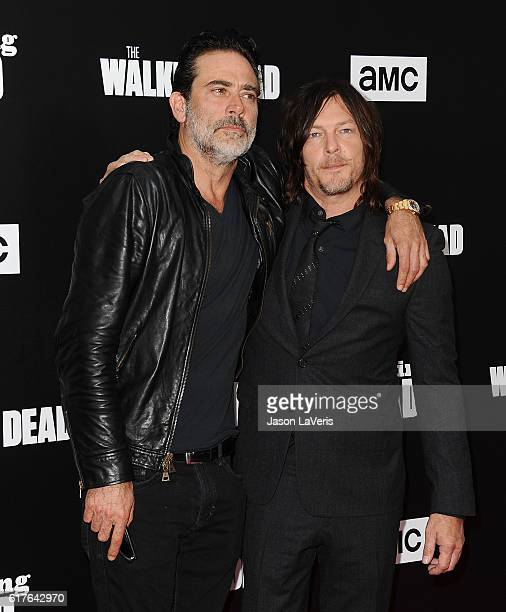 Actors Jeffrey Dean Morgan and Norman Reedus attend the live 90minute special edition of 'Talking Dead' at Hollywood Forever on October 23 2016 in...