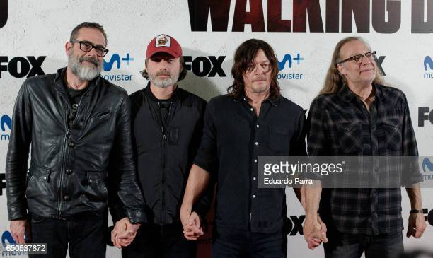 Actors Jeffrey Dean Morgan Andrew Lincoln and Norman Reedus and director Gregory Nicotero attend 'The Walking Dead' Eurotour photocall at Capitol...