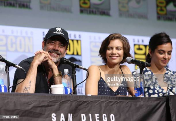 Actors Jeffrey Dean Morgan Lauren Cohan and Alanna Masterson from 'The Walking Dead' at the Hall H panel with AMC at San Diego ComicCon International...