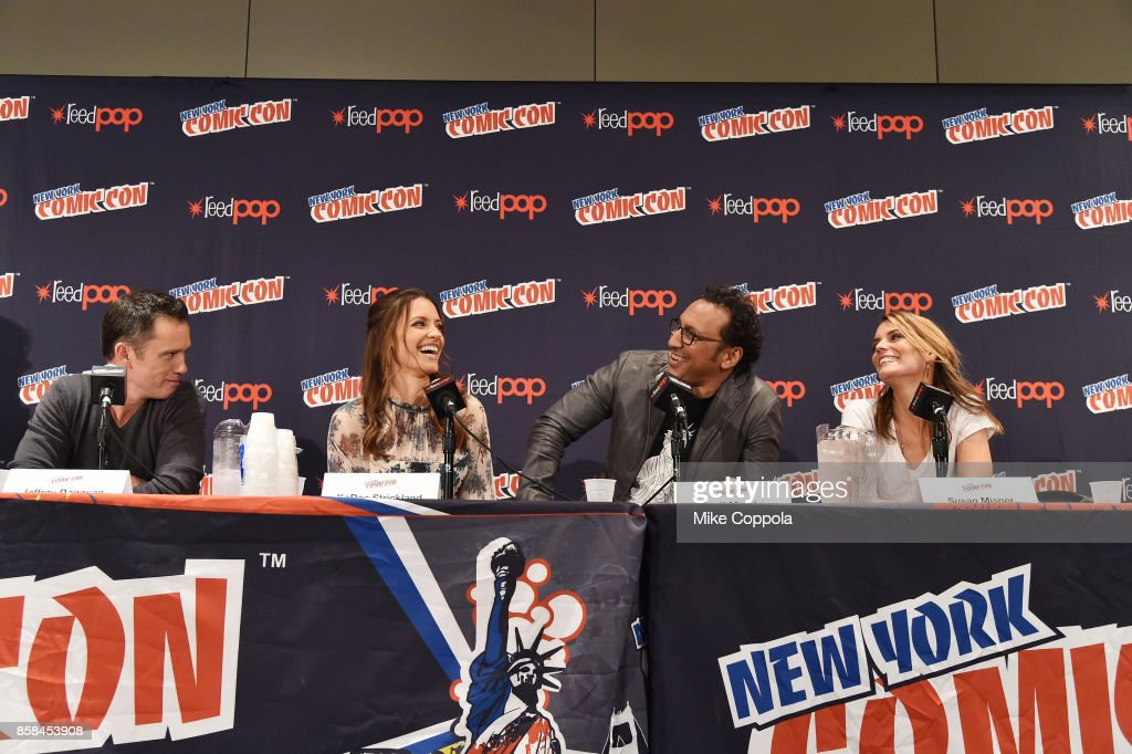 Actors Jeffrey Donovan, KaDee Strickland, Aasif Mandvi, and Susan Misner participate in Hulu's Shut Eye panel at New York Comic Con at Jacob Javits Center on October 6, 2017 in New York City.