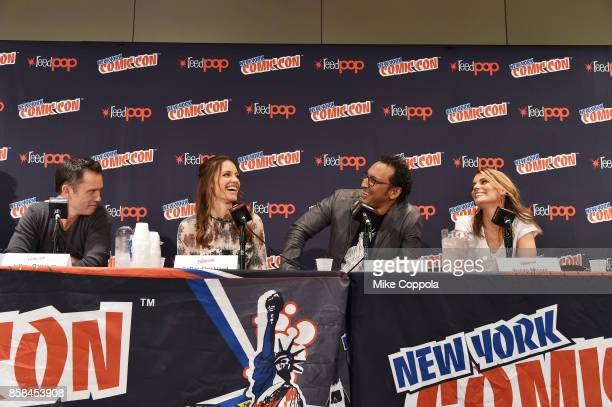 Actors Jeffrey Donovan KaDee Strickland Aasif Mandvi and Susan Misner participate in Hulu's Shut Eye panel at New York Comic Con at Jacob Javits...