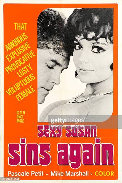 Image contains suggestive contentActors Jeffrey Hunter and Pascale Petit appear on a poster for the AustrianItalian sex comedy 'Sexy Susan Sins...