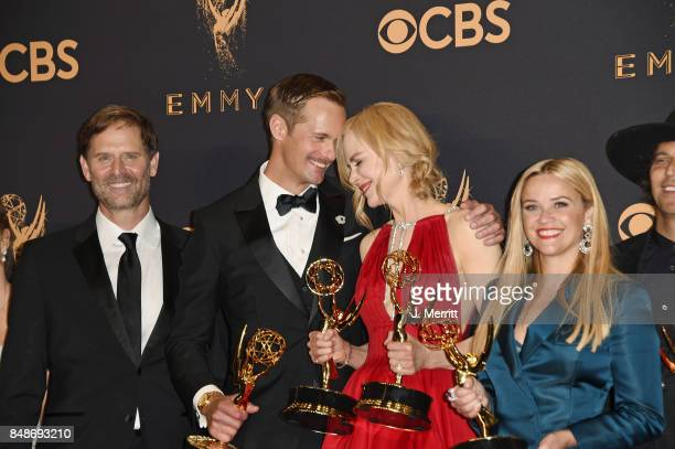 Actors Jeffrey Nordling Alexander Skarsgard Nicole Kidman and Reese Witherspoon winners of Outstanding Limited Series for 'Big Little Lies' pose in...