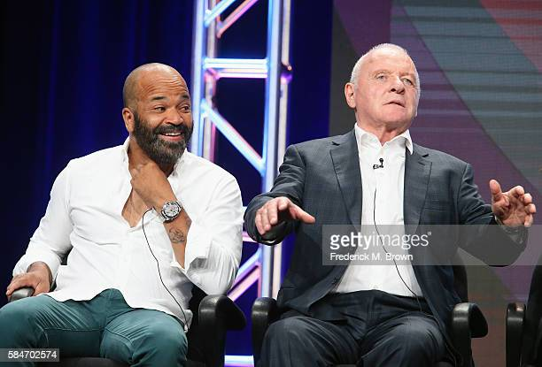 Actors Jeffrey Wright and Sir Anthony Hopkins speak onstage during the 'Westworld' panel discussion at the HBO portion of the 2016 Television Critics...