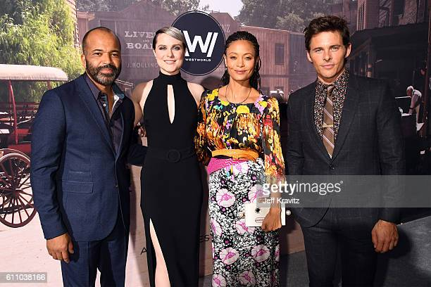 Actors Jeffrey Wright Evan Rachel Wood Thandie Newton and James Marsden attends the premiere of HBO's 'Westworld' at TCL Chinese Theatre on September...